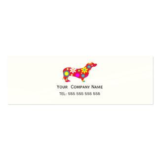 Dachshund retro floral flower custom business card