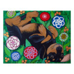 Dachshund Rolling in the Flowers Print