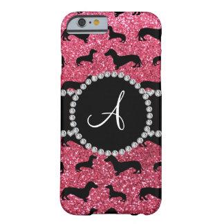 Dachshund rosado fucsia del brillo del monograma funda de iPhone 6 barely there