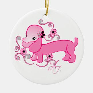 Dachshund rosado lindo adorno redondo de cerámica