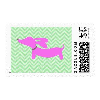 Dachshund rosado + Sellos verdes de Chevron