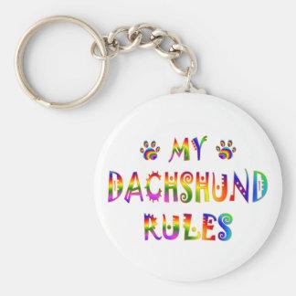 Dachshund Rules Fun Basic Round Button Keychain