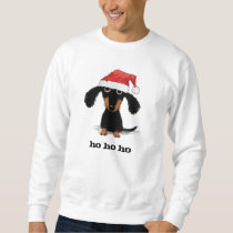 Dachshund Santa Clause with Customizable Text Sweatshirt