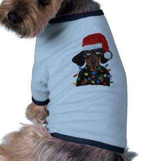 Dachshund Santa enredado en luces de navidad Camisa De Perro