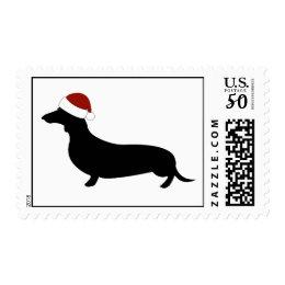 Dachshund Santa Hat Postage