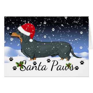 Dachshund Santa paws Winter Holiday Cards
