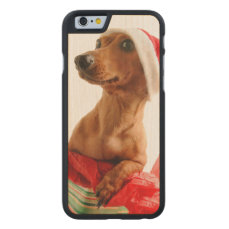 Dachshund santa - santa dog - dog gifts carved maple iPhone 6 slim case