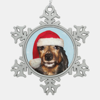 Dachshund Santa Snowflake Pewter Christmas Ornament