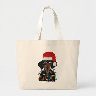 Dachshund Santa Tangled In Christmas Lights Bag