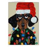 Dachshund Santa Tangled In Christmas Lights Greeting Card