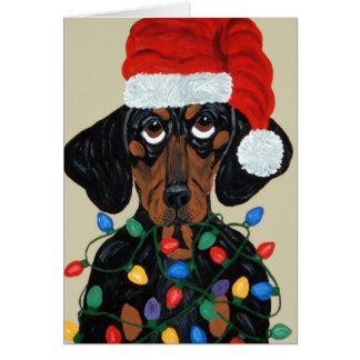 Dachshund Santa Tangled In Christmas Lights Card