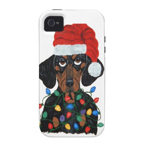 Dachshund Santa Tangled In Christmas Lights Vibe iPhone 4 Cover