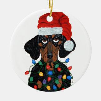 Dachshund Santa Tangled In Christmas Lights Ceramic Ornament