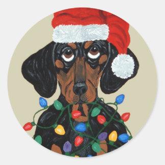 Dachshund Santa Tangled In Christmas Lights Classic Round Sticker