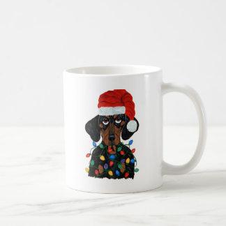 Dachshund Santa Tangled In Christmas Lights Coffee Mug