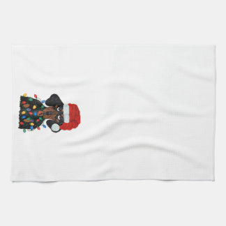Dachshund Santa Tangled In Christmas Lights Hand Towel