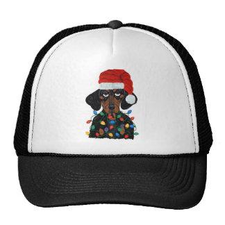 Dachshund Santa Tangled In Christmas Lights Trucker Hat