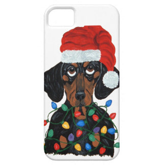 Dachshund Santa Tangled In Christmas Lights iPhone SE/5/5s Case
