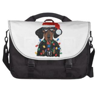Dachshund Santa Tangled In Christmas Lights Bag For Laptop