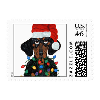 Dachshund Santa Tangled In Christmas Lights Postage Stamp