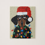 Dachshund Santa Tangled In Christmas Lights Puzzle