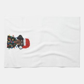 Dachshund Santa Tangled In Christmas Lights Towel