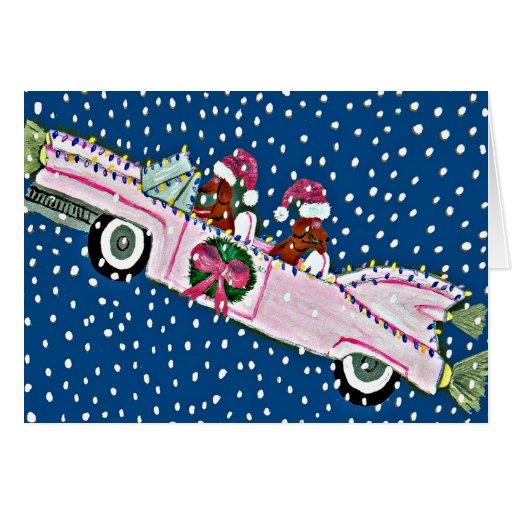 Dachshund Santas Christmas Cadillac Card