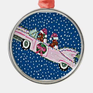Dachshund Santas Christmas Pink Cadillac Metal Ornament