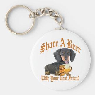 Dachshund Shares A Beer Keychain