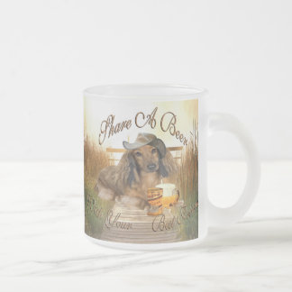 Dachshund Shares A Beer 10 Oz Frosted Glass Coffee Mug