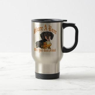 Dachshund Shares A Beer Travel Mug