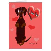 Dachshund Sidney Valentine Card