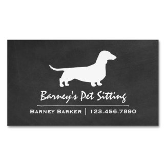 Dachshund Silhouette Chalkboard Style Magnetic Business Card