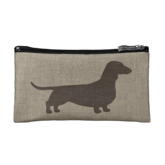 Dachshund Silhouette Faux Linen Style Cosmetic Bag