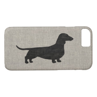 Dachshund Silhouette Faux Linen Style iPhone 7 Case