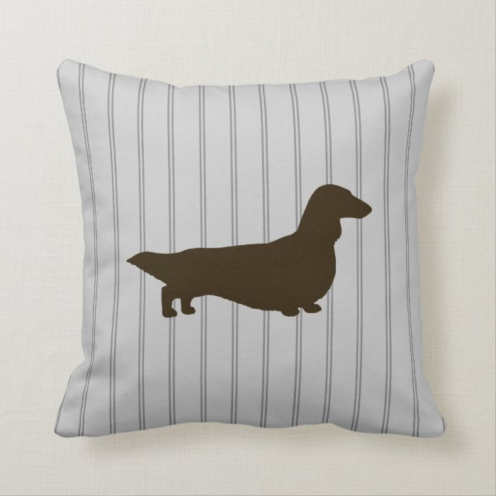 Dachshund silhouette long haired doxie throw pillow zazzle for Long throw pillows