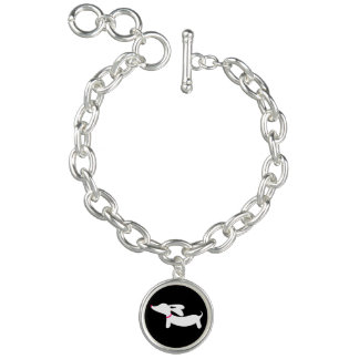 Dachshund Silhouette on Black with Pink Collar Bracelets