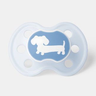 Dachshund Silhouette on Blue Pacifier