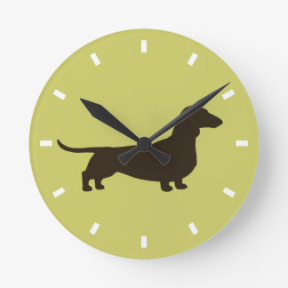 Dachshund Silhouette on Green - Color Customizable Wall Clocks