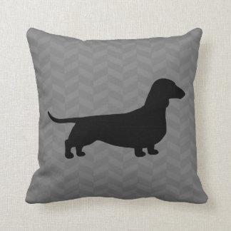 Dachshund Silhouette on Grey Herringbone Pattern Throw Pillow