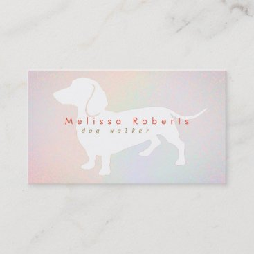 dachshund silhouette on pastel colors business card