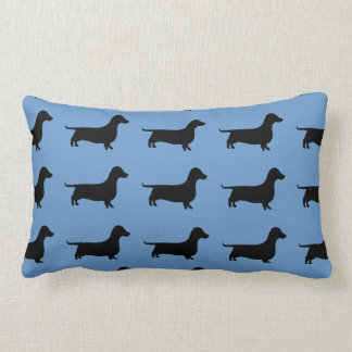 Dachshund Silhouette on Steel Blue or any color. Pillow