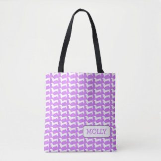 Dachshund Silhouette Pattern Bag with Name