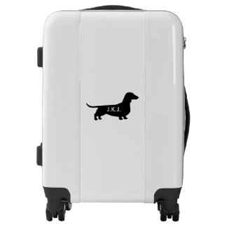 Dachshund Silhouette Personalized Luggage