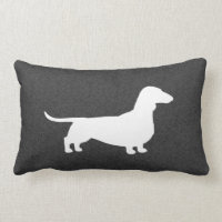 Dachshund Silhouette - Short Haired Wiener Dog Lumbar Pillow