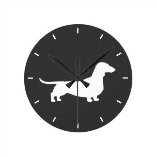 Dachshund Silhouette - Short Haired Wiener Dog Round Clock