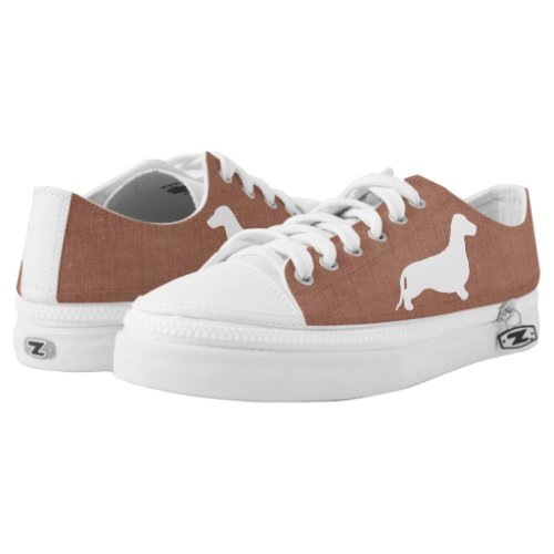 Dachshund silhouette white + your ideas Low-Top sneakers