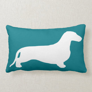 Dachshund silhouette white + your ideas lumbar pillow