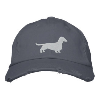 Dachshund Silhouette with Custom Text Embroidered Baseball Cap