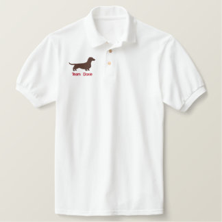 Dachshund Silhouette with Custom Text Embroidered Polo Shirt